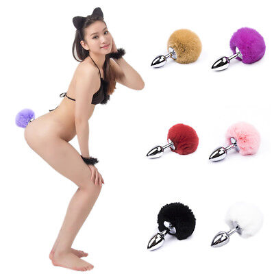 7 Colors Cute Bunny Rabbit Tail Tear Drop Butt Plugs  Silver Funny Toy Anal Plug (Costume Rabbit)
