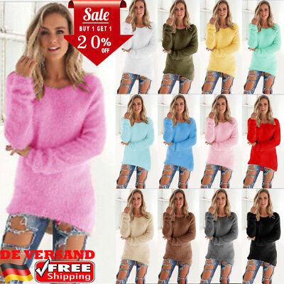 Winter Pullover Sweatshirt (Damen Winter Warme Pullover Sweater Strickpullover Sweatshirt Fleece Pulli Bluse)