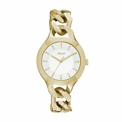 DKNY Women's Chambers NY2217 White Dial Gold Stainless Steel Bracelet Watch Dkny Womens White Crystal