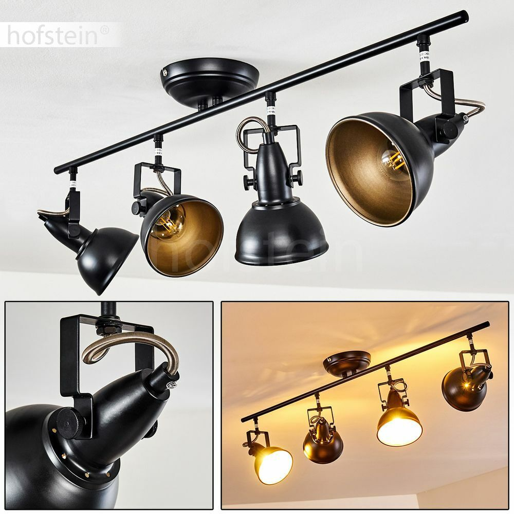 Flur Strahler schwarz-gold Retro Wohn Schlaf Raum Leuchte 4-flammig Decken Lampe
