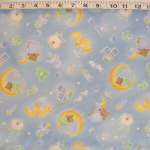 C1346 04f fabri quilt sleepy time blue cotton flannel for Children s flannel fabric by the yard