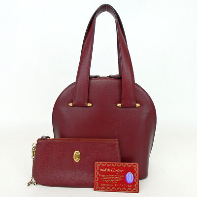Authentic Cartier Must Line with pouch Handbag leather[Used]