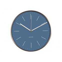 Karlsson Minimal Wall Clock Blue Face Copper Case Designer Silent Modern Stylish