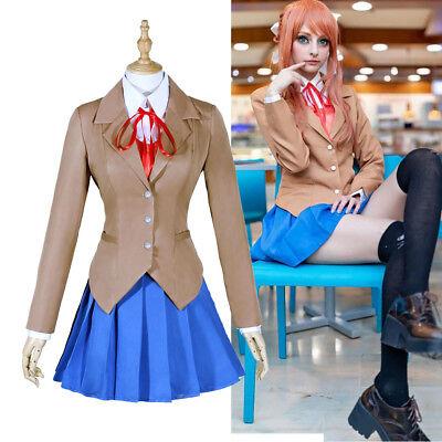 School Girl Cosplay Costumes (Sayori Yuri Natsuki Monika Japanese High School Girl Uniform Cosplay)