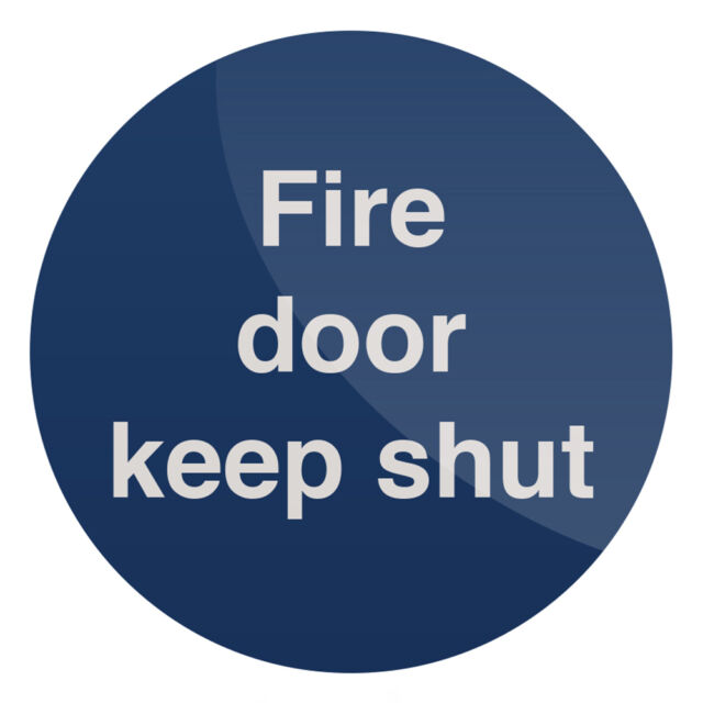 Fire Door Keep Shut Sign 100 x 100mm Self-Adhesive  Signage Safety Signs