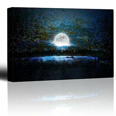 Glowing Full Moon Over a Blue Background with Brush Strokes - Canvas - 16x24 ](Full Moon Background)
