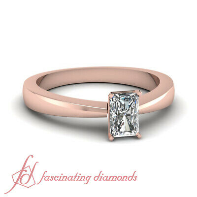 1/2 Carat Radiant Cut Rose Gold Tapered Solitaire Diamond Rings GIA Certified