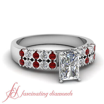 1.25 Ct Radiant Cut VVS1-F Color Diamond & Red Ruby 14K Gold Engagement Ring GIA