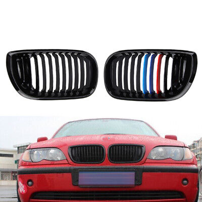 Mix Grill - Gloss Black Mix Color Front Grilles Replace for BMW E46 3 Series 4 Door 02-05