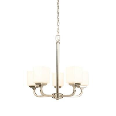 Hampton Bay 5-Light Brushed Nickel Chandelier with Frosted Glass covid 19 (Nickel Chandeliers White Metals coronavirus)