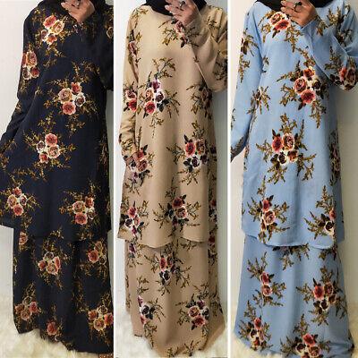 2 Piece Ramadan Women Floral Printed Dress Abaya Muslim Kaftan Dubai Jilbab Sets