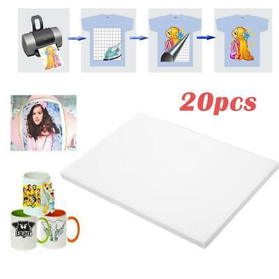 20pcs A4 Heat Transfer Iron-on Paper For Light Dark Fabric Cloth T-shirt Print
