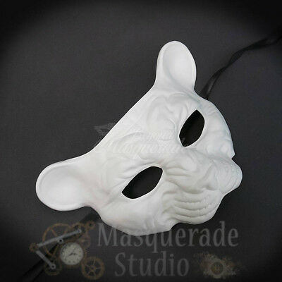 Leopard Haunted Animal Spirit Wall Decoration Halloween Masquerade Mask [White]