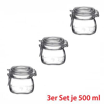 Axentia 3er Set Einmachgläser 500 ml Einmach Glas mit Drahtbügel