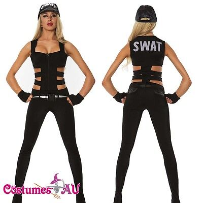 New Ladies Woman Black SWAT Cop Police Uniform Party Fancy Dress Costume Outfit - Ladies Swat Costume
