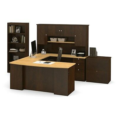 Bestar Manhattan U-shaped Workstation With Lateral File And Bookcase In...