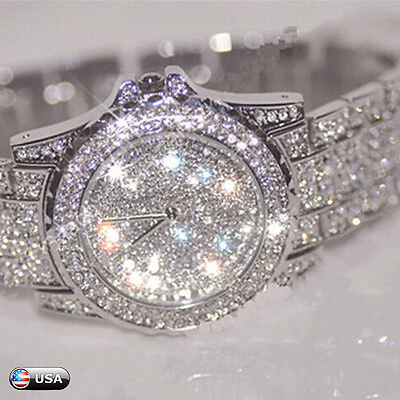 Women Stainless Steel Crystal Diamond Rhinestone Watches Quartz Wrist Watch US