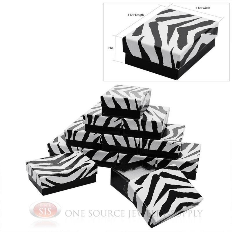 "12 Zebra Print Cotton Filled Gift Boxes 3 1/4"" X 2 1/4"" Charm Pendant Jewelry"