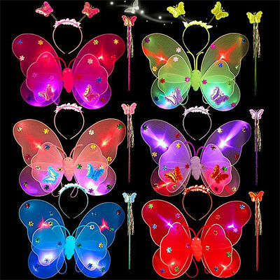 Girl Kid 3Pcs/set Butterfly Wing Wand Headband Fairy Princess Xmas Party Costume (Kid Fairy Costume)