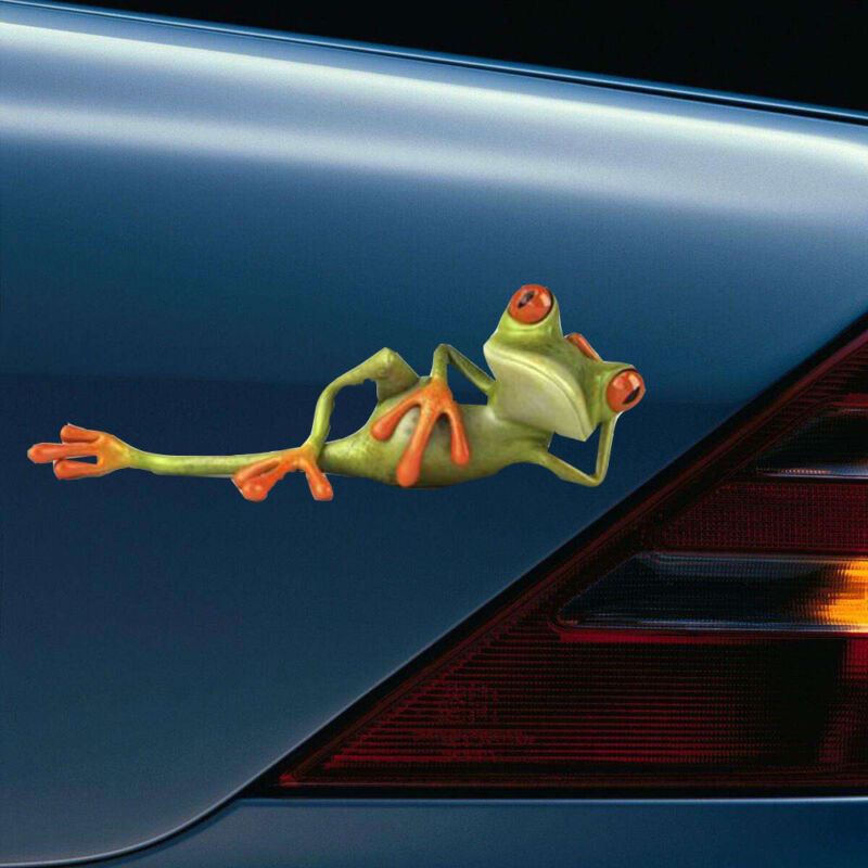 Car Sticker 3D Funny Green Lying Frog Wall Truck Window Vinyl Decal Sticker