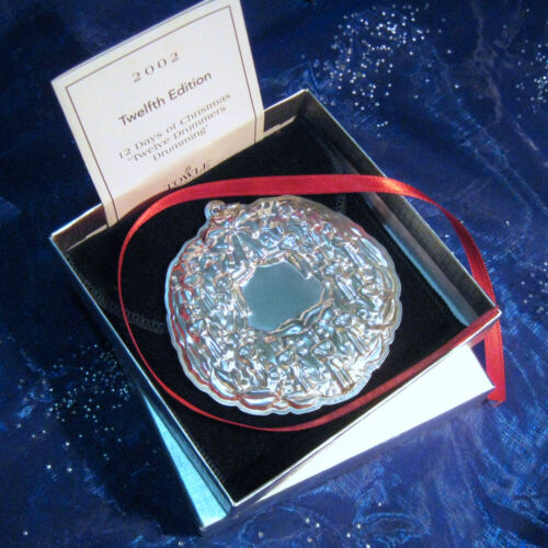 """NEW • Towle 2002 """"TWELVE DRUMMERS..."""" WREATH 12 Days Sterling Christmas Ornament"""