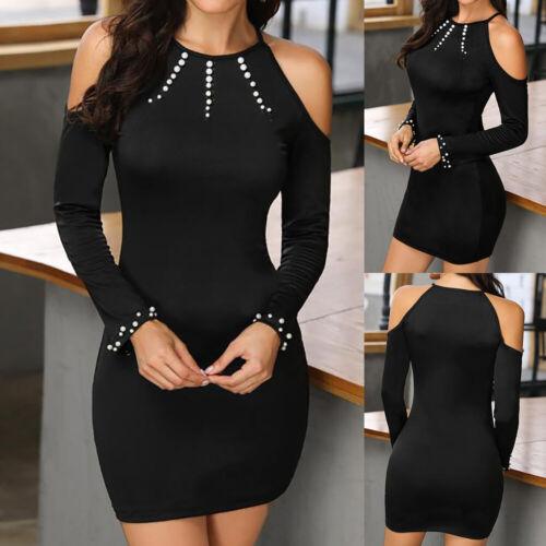✅Minikleid Sexy Damen Kalte Schulter Bodycon-Kleid Herbst Langarm Kurze Kleider