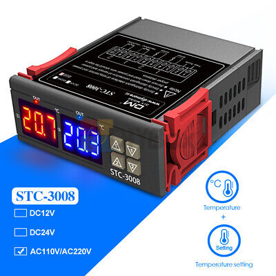 Stc-3008 Dual Display 2-way Thermostat Temperature Controller Probe Ac 110-220v