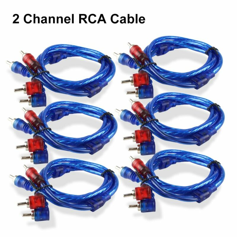 6PCS Car Audio Stereo RCA Interconnect Cable Ultra Flex Male Plug Connector 3 FT