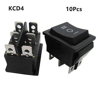 10pcs Ac 20a125v 16a250v Dpdt 6 Pins 3 Position Onoffon Black Rocker Switch