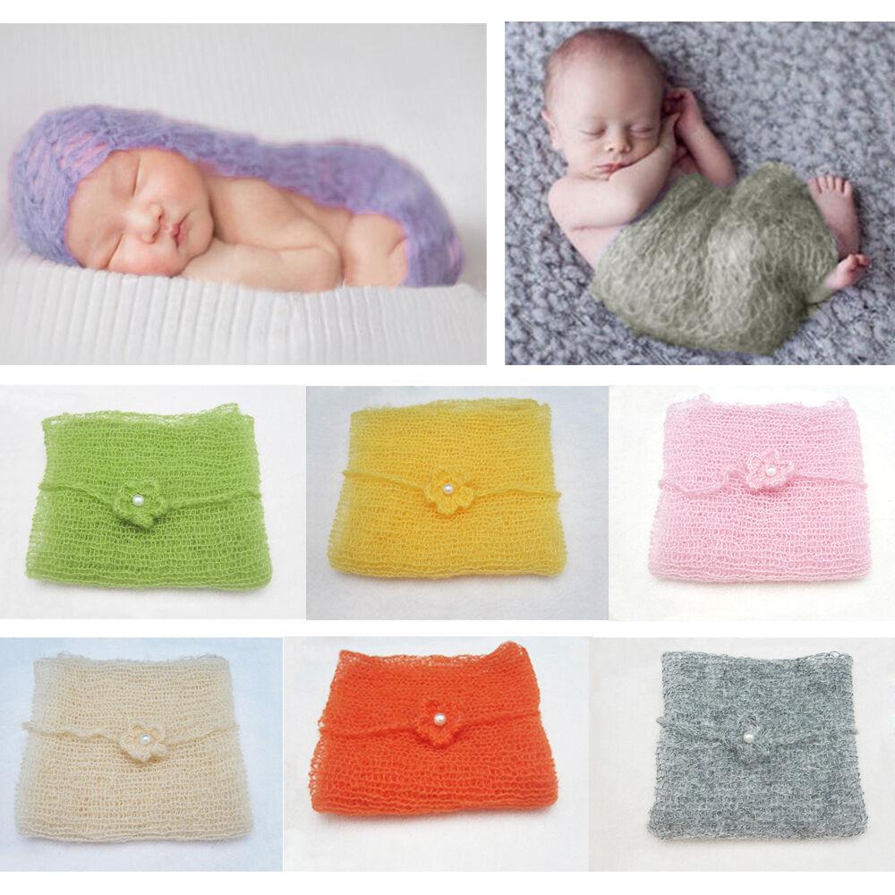 Baby Newborn Infant Soft Crochet Knit Mohair Wrap Cloth Photography Photo Prop