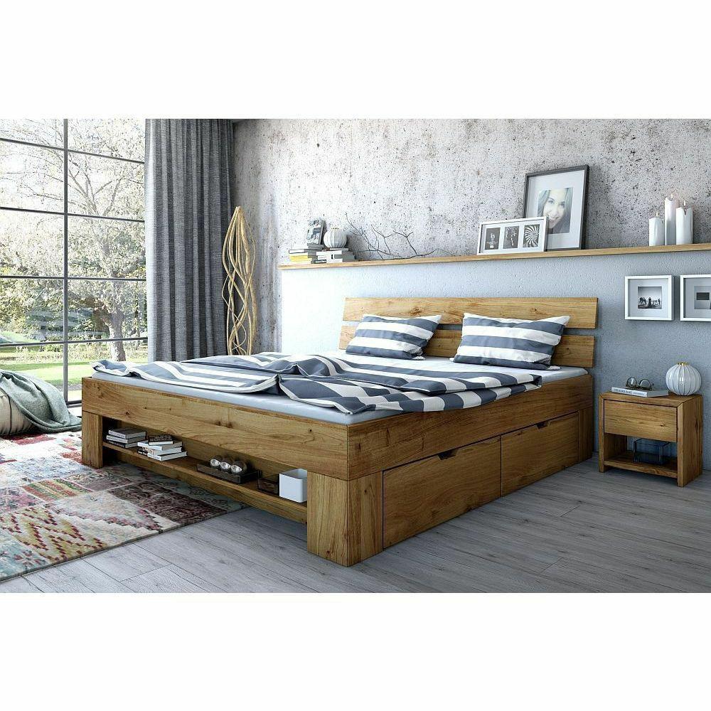 Futonbett Wildeiche Bett Massiv geölt 140 x 200 cm inkl. 4 Bettkästen