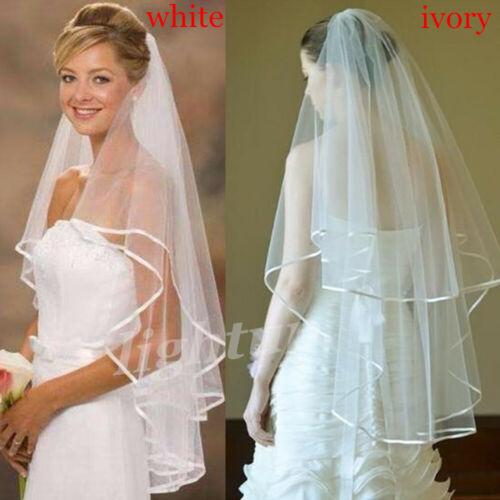 80cm 2t Tier Satin Edge Wedding Bridal Veil Short Simple Plain Ivory White Comb Ebay