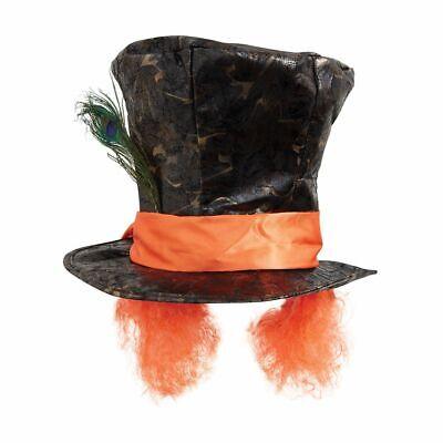 Verrückter Hutmacher Zylinder m Haaren Pfauenfeder Mad Hatter Kostüm Hut Perücke