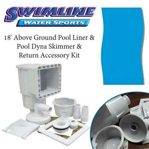 NEW Swimline 18 Above Ground Pool Liner  Pool Dyna Skimmer  Return Accessory Kit Condtion: New