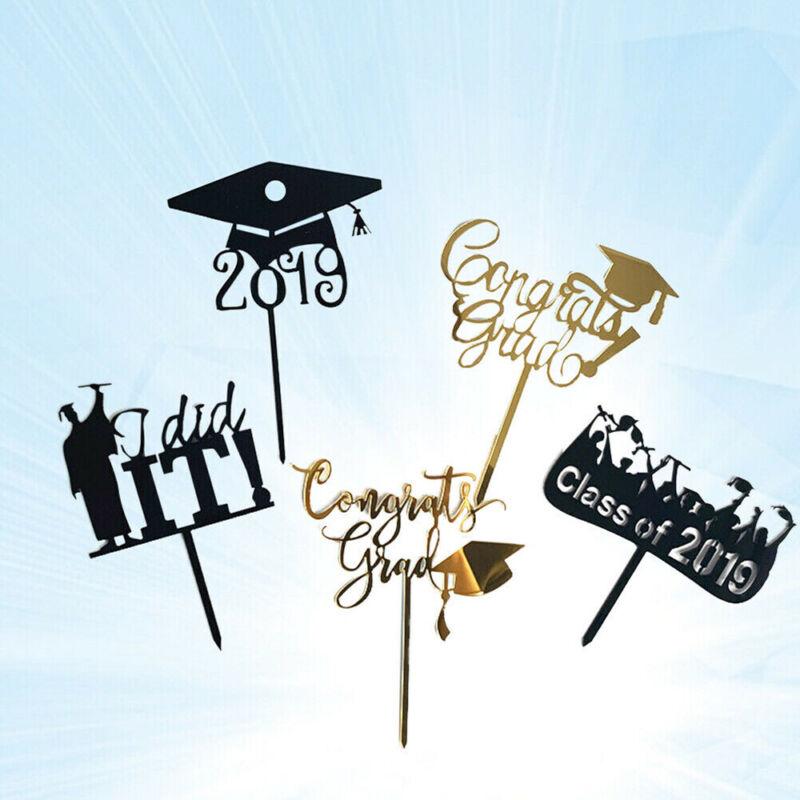 Congrats Grad Food Sticks Acrylic Cake Decor Cupcake Toppers 2019 Graduation