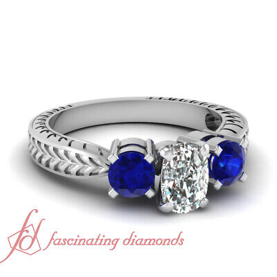 .90 Ct Antique Inspired Cushion Cut & Blue Sapphire Diamond Ring GIA Size 4 - 11