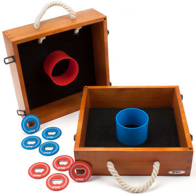 Premium Outdoor Solid Wood Washer Toss Game Set For Backyard, Lawn & Beach (Washer Toss Game)