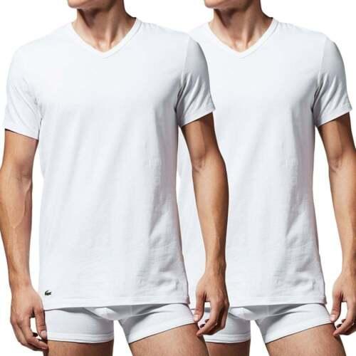 09752234 Lacoste Underwear Men's Cotton Stretch 2-Pack V-Neck T-Shirt, White, Vee Tee