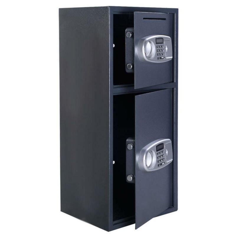 Hot Double Door Cash Office Security Lock Digital Safe Depository Drop Box US