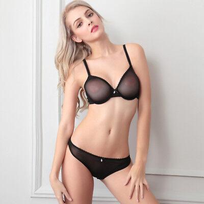 Sexy Underwire (Sexy Sheer Lace Bra Underwear Set Briefs Plunge See Through Underwire Brassiere )