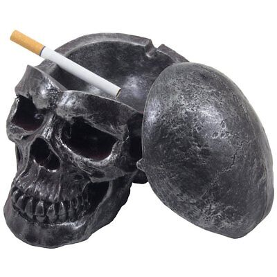 Human Skull Ashtray with Lid Decor Figurine Cigarette Holder Gift Fun Home Party