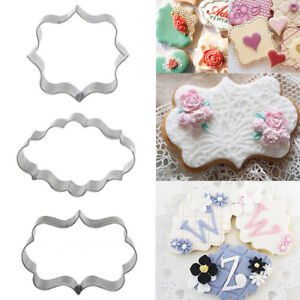3X Stainless Steel Fancy Plaque Frame Fondant Cake Mold Mould  Cookie Cutter