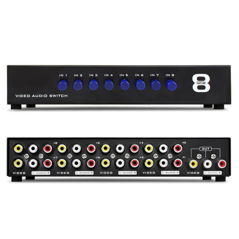AV Switch Box Composite Selector 8 Port RCA Audio Video 8 In 1 Out To TV