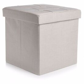 Faux Linen Storage Cube with Lid - NEW