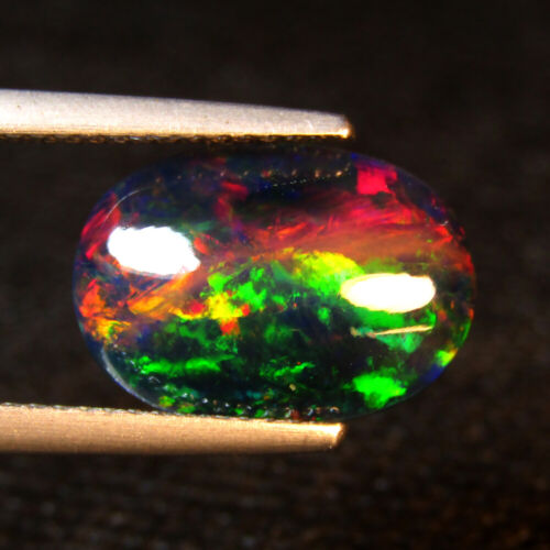 2.70CTS STUNNING 3D HARLEQUIN PATTERN NATURAL WELO BLACK OPAL LOOSE GEMSTONE