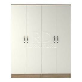 Beatrice 4 door wardrobe oak and white