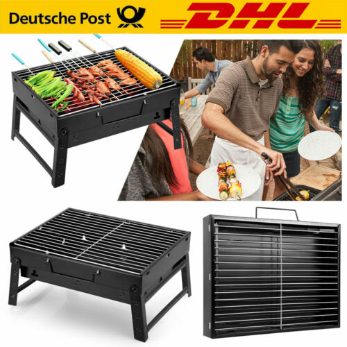 Mini BBQ Holzkohle Grill Tischgrill Klappgrill Camping Picknick Notebookgrill DE