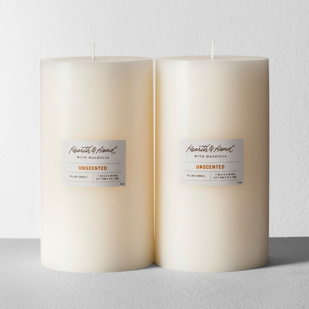 "Satin Pillar Candle 4×7"" – 2 pack – Cream – Hearth & Hand with Magnolia NEW Candles"