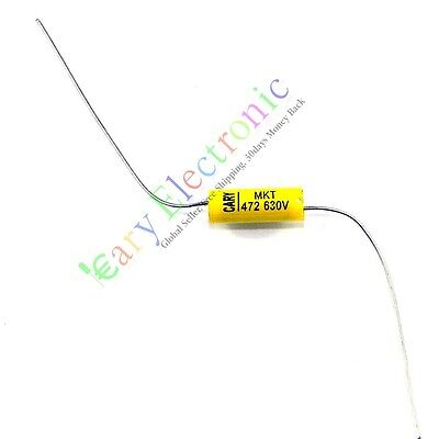 10pcs Yellow Long Lead Axial Polyester Film Capacitor 0.0047uf 630v Fr Tube Amps
