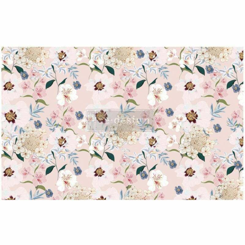 """BLUSH FLORAL 1 sheet 19""""x30"""" decoupage paper by redesign with Prima!"""